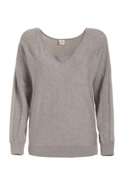 Cotton & Silk V-Neck Sweater - Grey Marl