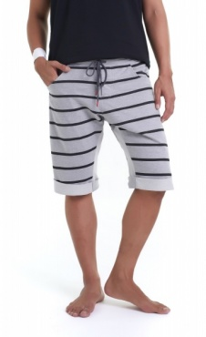 Asana Yoga Shorts - Grey Marl Stripes