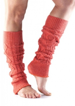 Knitted Leg Warmer - Coral
