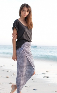 Paloma Skirt - Batik Blue Stripes
