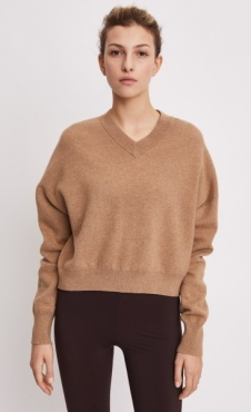Filippa K Double Knit V-neck Sweater Camel