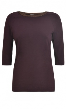 Sparkle Elbow Sleeve T - Burgundy