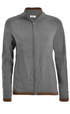 Sparkle Full Zip Sweater - Grey Marl