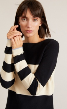 Cotton Knit Striped Longsleeve Sweater - Black