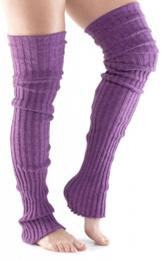 Long Ribbed Leg Warmer - Plum