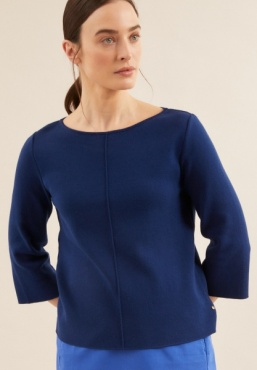 Lanius Boatneck Knit 3/4 Sleeve - Night Blue