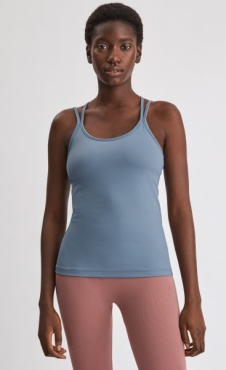 FilippaK Cross Back Yoga Top Fog Blue