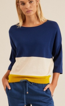 Lanius Multicolor Pullover - Night blue / Kiwi Gold