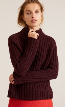 Lanius Rib Col Sweater - Cassis