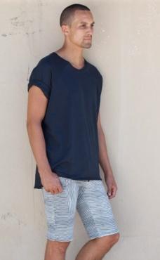 Slimjims Yoga Shorts - Batik Blue Stripes