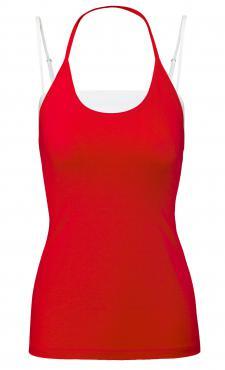 Beat It tank - Poppy Red&White